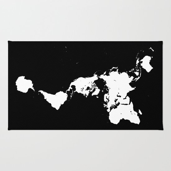 Black And White World Map Rug: Dymaxion World Map (Fuller Projection Map)