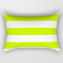 Bitter lime - solid color - white stripes pattern Rectangular Pillow
