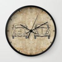 blueprint Wall Clocks featuring VW Beetle BluePrint by Barbo's Art