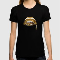 Golden Lips Black MEDIUM Womens Fitted Tee