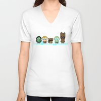 starlord V-neck T-shirts featuring GUARDIANS OF THE GALAXY by Chris Thompson, ThompsonArts.com