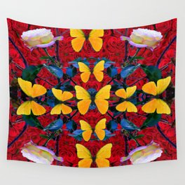 RED-WHITE ROSES & YELLOW BUTTERFLIES GARDEN Wall Tapestry