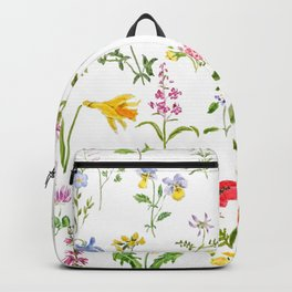 botanical colorful countryside wildflowers watercolor painting Backpack