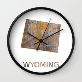 Wyoming map outline Yellow brown spots watercolor illustration Wall Clock
