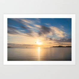 Birds flying at golden hour at Anse Vata Bay in New Caledonia Art Print