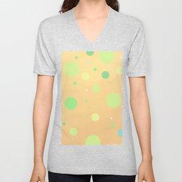 Orange Watercolor w/ Green/Blue Polka Dots Unisex V-Neck