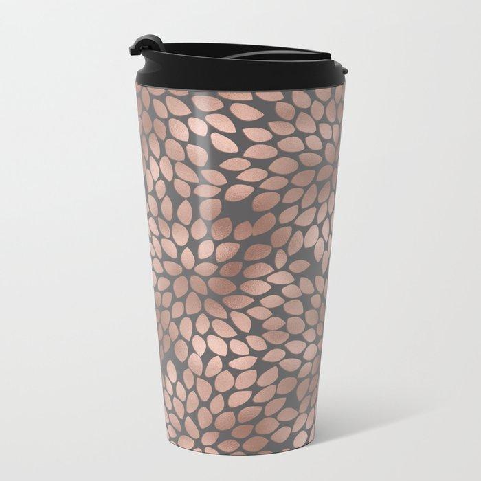 Rosegold flowers- abstract floral elegant pattern on grey background Metal Travel Mug