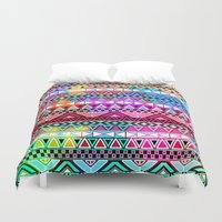 stickers Duvet Covers featuring  Neon Aztec | Purple Pink Neon Bright Andes Abstract Pattern by Girly Trend