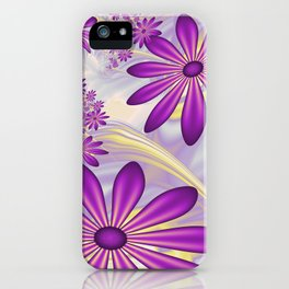 Fractal Art Dancing Purple Flowers iPhone Case