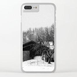 Chiemgau homestead in the snow storm   Chiemgauer Gehöft im Schneegestöber Clear iPhone Case