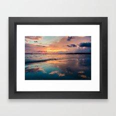 Beautiful Summer Beach Sunset Reflection Framed Art Print