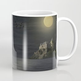 A girl and her white wolf in the moonlight Coffee Mug
