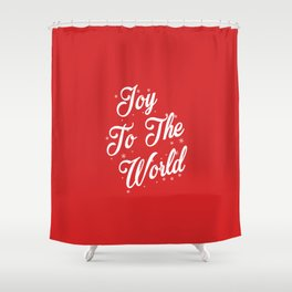 Joy To The World Christmas Red Background Shower Curtain