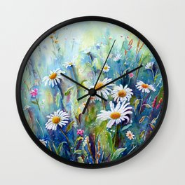Watercolor Daisy Field Wall Clock