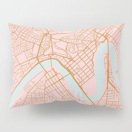 Pink and gold Brisbane map Pillow Sham