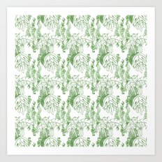 Jamaican Botanicals - Green & White Art Print