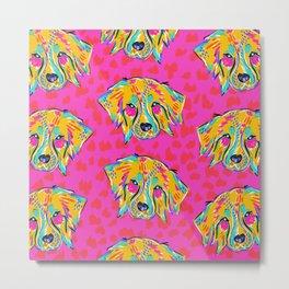 Bright Dog Pattern | Pink Metal Print