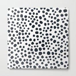 Black Painted Dots Metal Print