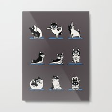 Husky Yoga Metal Print