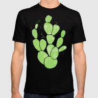 Linocut Cactus #1 Minty Pinky Black MEDIUM Mens Fitted Tee