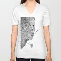 salvador dali V-neck T-shirts featuring Salvador Dali by Ina Spasova puzzle