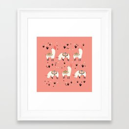 White Llamas in a pink desert Framed Art Print