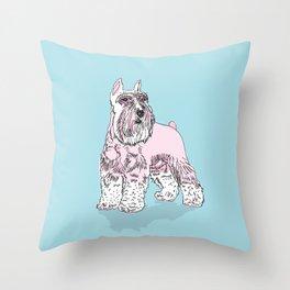 Schnauzer pink Throw Pillow