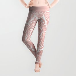 White Flower Mandala on Rose Gold Leggings