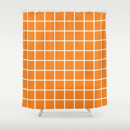 Orange Grid Pattern 2 Shower Curtain