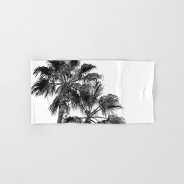 B&W Palm Tree Print | Black and White Summer Sky Beach Surfing Photography Art Hand & Bath Towel