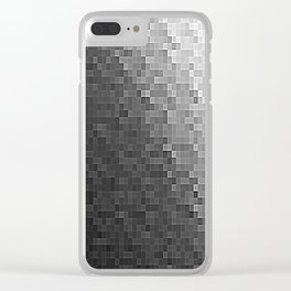 Gray Ombre Pixels Clear iPhone Case