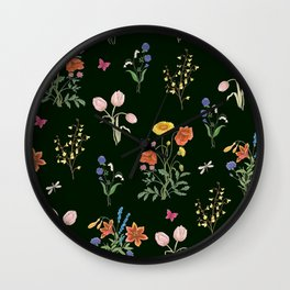 VINTAGE STYLE COLORFUL SUMMER BOUQUETS AND INSECTS Wall Clock