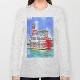 New Orleans Paddle Steamer Pop Art Long Sleeve T-shirt