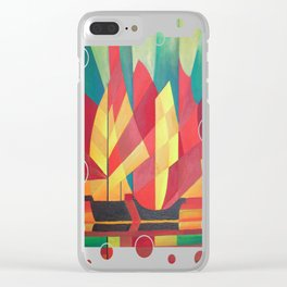 Cubist Abstract of Junk Sails and Ocean Skies Clear iPhone Case