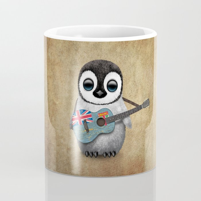 Baby Penguin Playing Fiji Flag Acoustic Guitar Coffee Mug