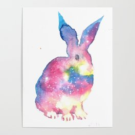 Colorful easter rabbit watercolor painting Poster