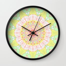 Mandala Design Pattern Pastel Colors Wall Clock