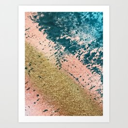 River: a minimal, abstract mixed-media piece in pink, teal and gold Art Print