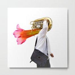 Musician and Flower Horn Metal Print