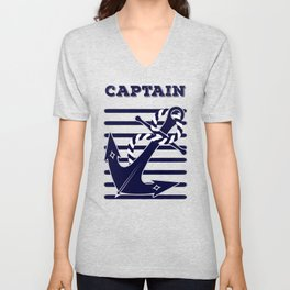 Nautical Navy Blue Anchor and Stripes Captain's Design Unisex V-Neck