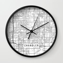 Chandler Map, Arizona USA - Black & White Portrait Wall Clock