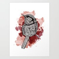 One Little Bird (Red Version) Art Print