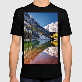 OLena Art Maroon Bells And Maroon Lake Near Aspen Colordo T-shirt