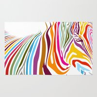 zebra Area & Throw Rugs featuring Zebra by graphicinvasion