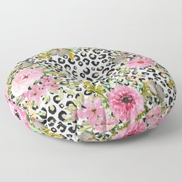 Elegant leopard print and floral design Floor Pillow
