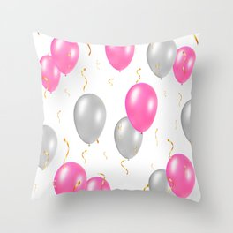 Happy party pattern, with pink, silver balloons, gold confetti. Throw Pillow