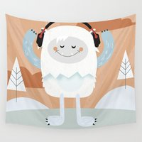 yeti Wall Tapestries featuring Jammin' Yeti by Kelly Kates