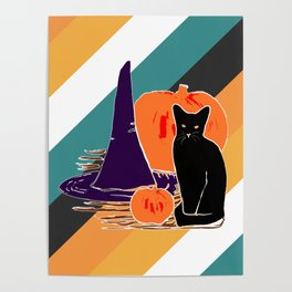 Witch Cat Pumpkin in Candy Corn Poster
