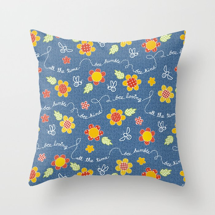 Bee Message - Spring sun Throw Pillow