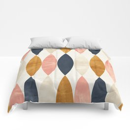 Colorful Pastel Geometric Scale Pattern Pink Navy Gold Art Deco Comforters
